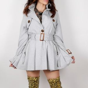 G.E.T Gray Pleated Trench Coat Size S